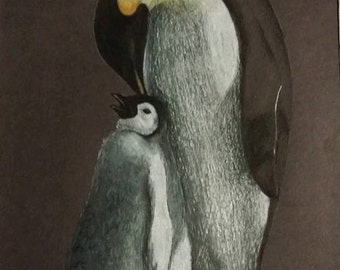 Emperor Penguin Artist Greeting Card, Print from Original Pastel Piece  - Signed by Artist