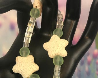 New, Clear And Green Frosted Glass Beaded Starfish Stretch Bracelet, Gift