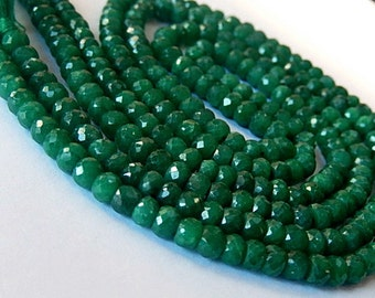 Emerald Gemstone. Precious Gemstone Bead. Faceted Emerald  Rondelle 4.5mm. Green Emerald. Your Choice Strand.  (aem3)
