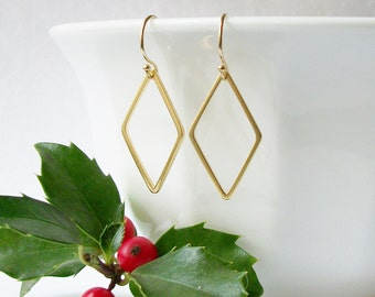 Simple Diamond Dangle Earrings