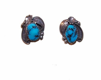 Vintage STERLING SILVER & Turquoise Nugget Native American Earrings