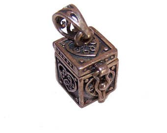 Vintage STERLING SILVER Charm or Pendant - Small Treasure Box That Opens/Closes