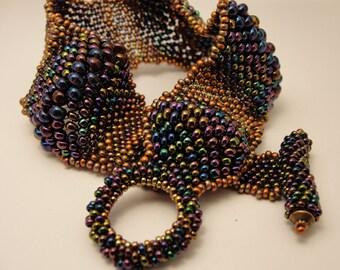 Ripple Peyote Beaded Purple and Copper Bracelet