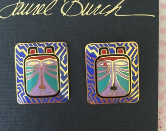 "Vintage ""TOSHIO"" Lion Laurel BURCH Signed Enamel pierced Earrings Multi Color with Gold Trim"
