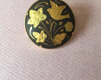 Vintage Damascene Brooch Pin Floral Birds