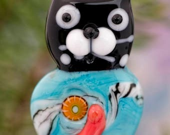 Gidget... lampwork kitty cat bead........ sra