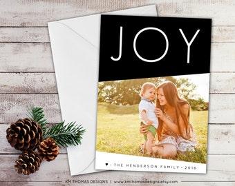 Joy Photo Holiday Card - Printable Photo Christmas Card - New Year Photo Card - Black Holiday Card - Large Joy - Winter Holiday Card - WH217