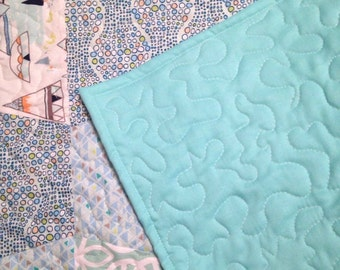 "Sale was 55.00 now 45.00  Baby boy quilt, teal quilt, trapazoid pattern, 36.5""x39"""
