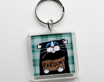 Funny Cat Art Keyring Keychain | Deaf Cat Pardon | Cat Lover Gifts | Art by Lisa Marie Robinson