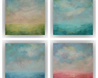 Set of 4 Abstract Landscapes- Small 12 x 12 Yellow Green Blue and Pink Sky and Cloud Oil Paintings- Original Palette Knife Art on Canvas