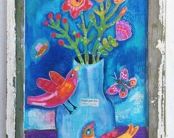 Folk Art Bird Painting in a Handmade Frame