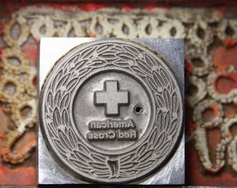Vintage RED CROSS Printing Block Collectible- Silver Metal Print Block- Vintage Advertising- Medical Collectible