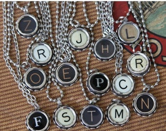 ON SALE TYPEWRITER Key Initial Pendant Alphabet Letters- Monogram- Personalized- Steampunk Style