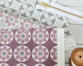 STUDIO SALE  Daisy Daisy and Roundel Fabric Purple Grey Fabric Scrap Pack