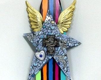 HUGE Star Stripes Wings Assemblage - BOHO Folk art Cross - Faith Hope Love upcycled