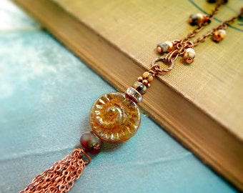 Ammonite tassel ancient past necklace - rustic beaded natural history fossil jewlery