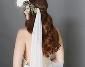 Drape Veil, Swoop Wedding Veil, English Net Veil, Bridal Veil, Soft Veil, Raw Edge Veil, Flower Crown Veil, Bridal Accessory, 1713
