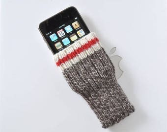 iPhone 7 Sock Monkey Cozy Cover Case Hand Knit Wool