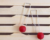 Delicate square top silver wire drop earrings with 10mm solid red resin ball bead.