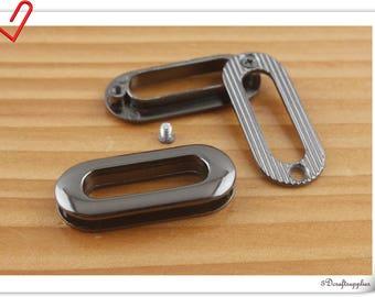 1 inch (25mm ) rounded rectangle gunmetal eyelet Oval alloyed grommet 8pcs CK80