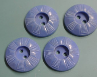 Lot of 4 vintage 1950s unused blue ornament plastic buttons for your sewing prodjects