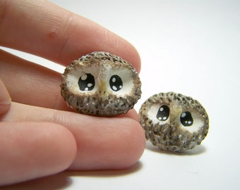 lil owl polymer clay earrings