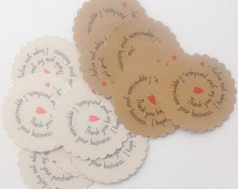 "30 Etsy Shop Owner Thank-you Cards - Etsy Seller Enclosure Card - Customer Appreciation - Thank You Tag - 3 1/2"" Scalloped Circular Card"