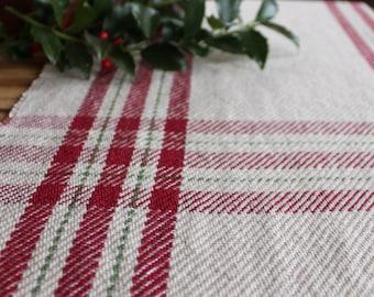 Handwoven Christmas farmhouse plaid table runner