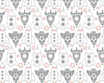 Boys Spaceship Fabric - Rocket Race In White By Sugarfresh - Spaceship Cotton Fabric By The Yard With Spoonflower