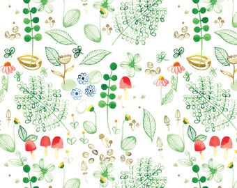 Meadow Fabric - Cool Woodland Medow By Ruth_Robson - Minimalist Watercolor Woodland Meadow Cotton Fabric By The Yard With Spoonflower