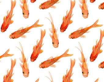 Orange Goldfish Fabric - Big Goldfish By Jillbyers - Watercolor Summer Goldfish Cotton Fabric By The Yard With Spoonflower