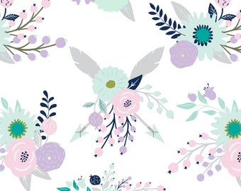 Purple + Gray Floral Fabric - Bear Blooms-01 By Graceandcruzdesigns - Baby Girl Shabby Chic Decor Cotton Fabric By The Yard With Spoonflower