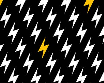 Black Lightning Bolt Fabric- Bolts Of Lightning (Synergy 0007) By Petitspixels -Lightning Zig Zag Cotton Fabric By The Yard With Spoonflower