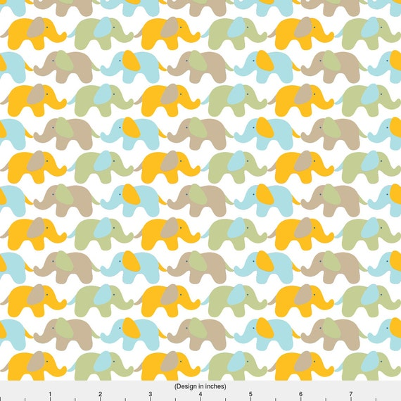 Blue yellow elephant fabric holding tails by for Yellow nursery fabric