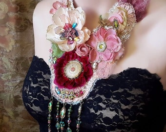 Ophelia's Flowers necklace, Boho statement necklace, bead embroidery textile jewelry, romantic lace necklace, Marie Antoinette inspired
