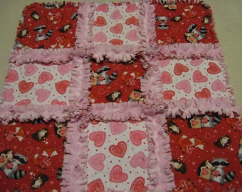 Valentine Woodland Animals Fox Racoon Hedgehog Baby Girl Small Rag Quilt Blanket Security Lovey Minky Backing Valentine gift Car Seat Quilt