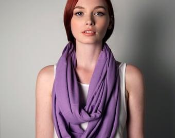 Light Purple Scarf, Jersey Cotton, Large, Womens, Mens, Circle Scarf