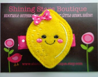 Hair Accessories - Bright Yellow Happy Lemon Embroidered Felt Fruit Hair Clippie For Girls - Food Clips