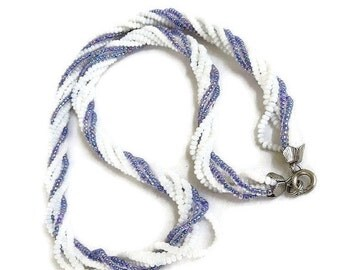 Glass Seed Bead Necklace with Silvery Blue & White Vintage 6 Strand Twisted