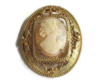 Vintage Carved Shell Lady Cameo Brooch or Pin signed Geno for Richelieu, Austria