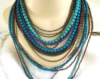 Multi Strand Beaded Necklace Vintage Shades of Blue & Purple