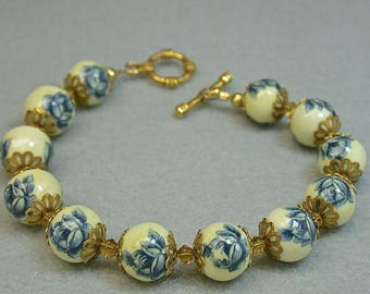 Vintage Japanese Tensha Blue Rose Bead Bracelet, Yellow Crystal, Gold Toggle Clasp