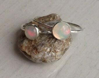 Ethiopian Welo Opal Silver Stacking Ring