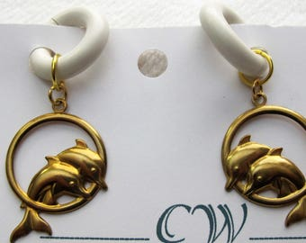 Dolphins Gold Finish Non-Pierced Rubber Earrings pr