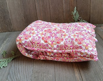 Aromatherapy Neck Pillow Organic Flax Seed Dried Lavender Herbal Scented Therapy Wrap Microwave Heating Pad Pink Orange Metallic Free Ship
