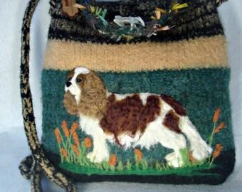 Cavalier Dog,Felted Purse, Felted Tote, Cavalier King Charles Spaniel, Dog Purse, Needle Felt Dog, Fiber Art, Custom Pet