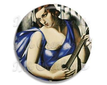 "Vintage Art Deco Lempicka The Musician Pocket Mirror, Magnet or Pinback Button - Favors - 2.25""- MR374"