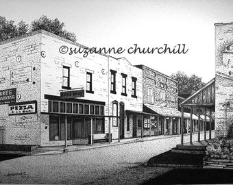 OLD HARDY Town, A Print of a Pen and Ink Drawing of Main Street in Hardy Arkansas by Suzanne Churchill, Historic Town, Vacation Destination
