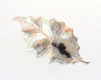 Vintage Silver Leaf Moss Agate Brooch Pin