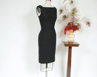 2 DAY SALE - Vintage 1950s Dress - Bombshell Black Wool 50s Wiggle Dress with Intricate Embroidered Stripes